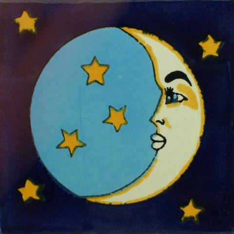 Talavera Tile - Luna con Estrellas