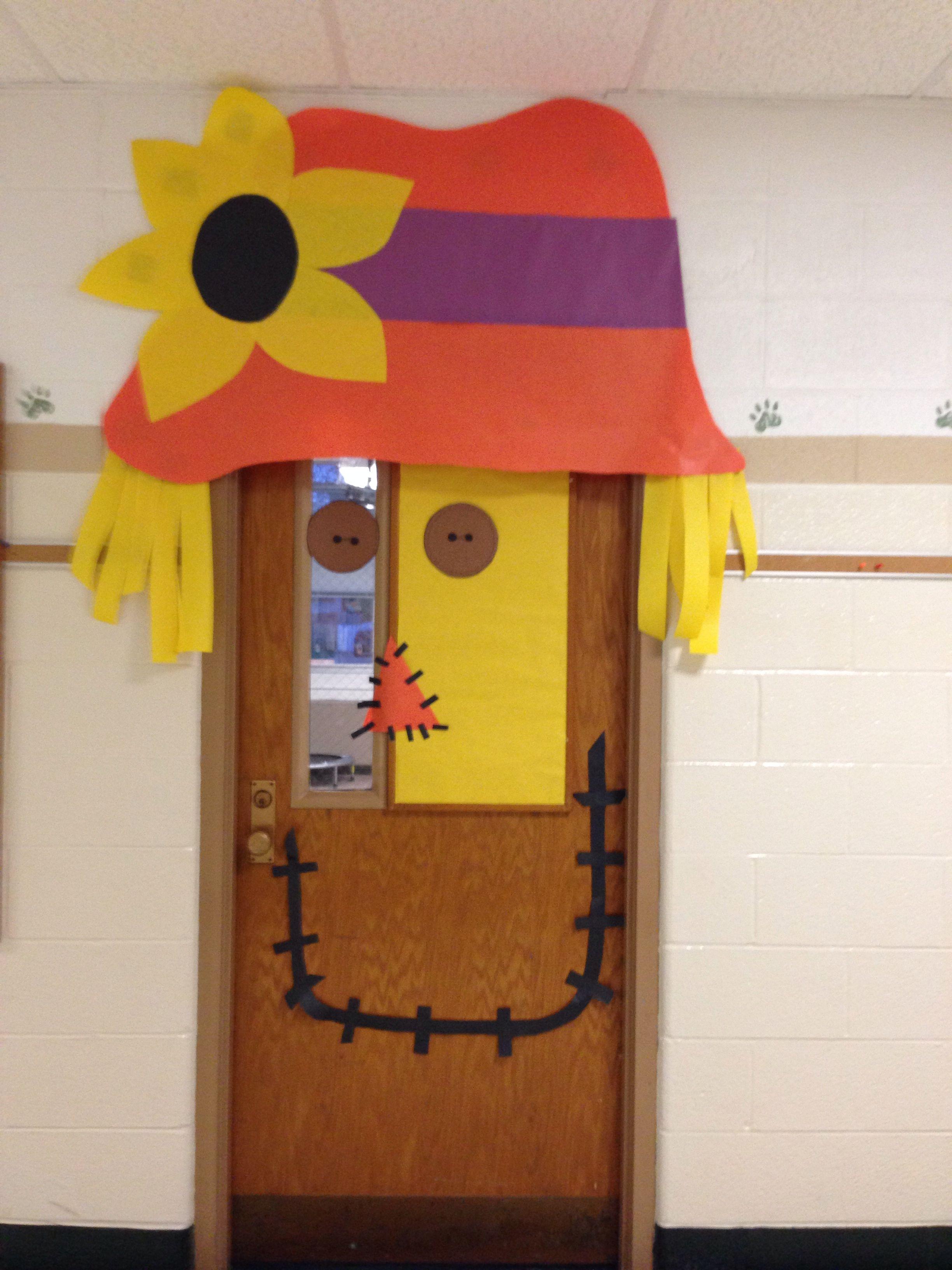 Scarecrow Door Decoration Classroom ~ Fall door scarecrow decoration speech therapy