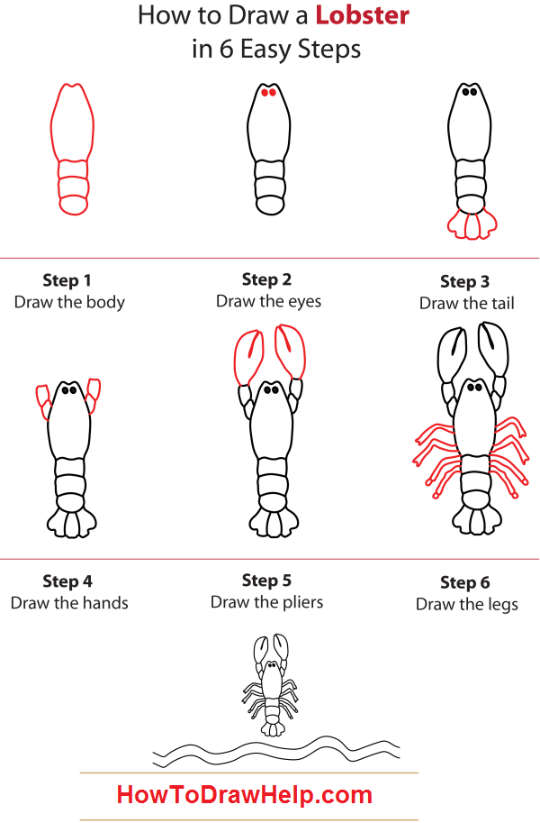 how to draw step by step | You can learn how to draw a lobster in a ...
