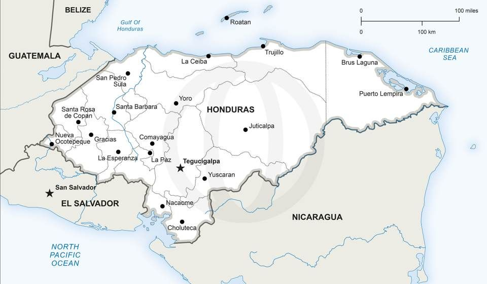 Vector Map of Honduras Political Honduras - best of large printable world map pdf