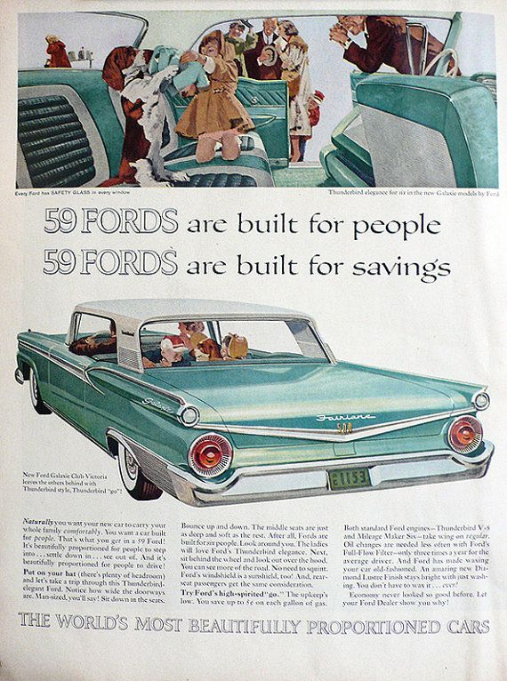 1959 ad Ford Galaxie Club Victoria classic family car automobilia seafoam mint green turquoise Basset hound retro to frame -Free US shipping