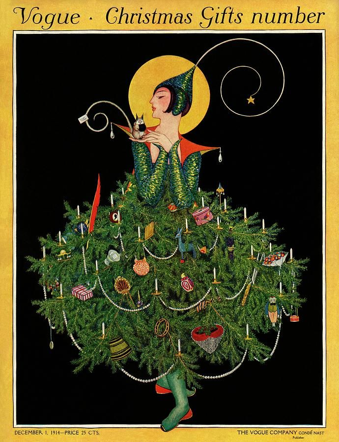 A Woman Dressed As A Christmas Tree By Artist Unknown In 2020 Christmas Illustration Christmas Art Vintage Vogue Covers