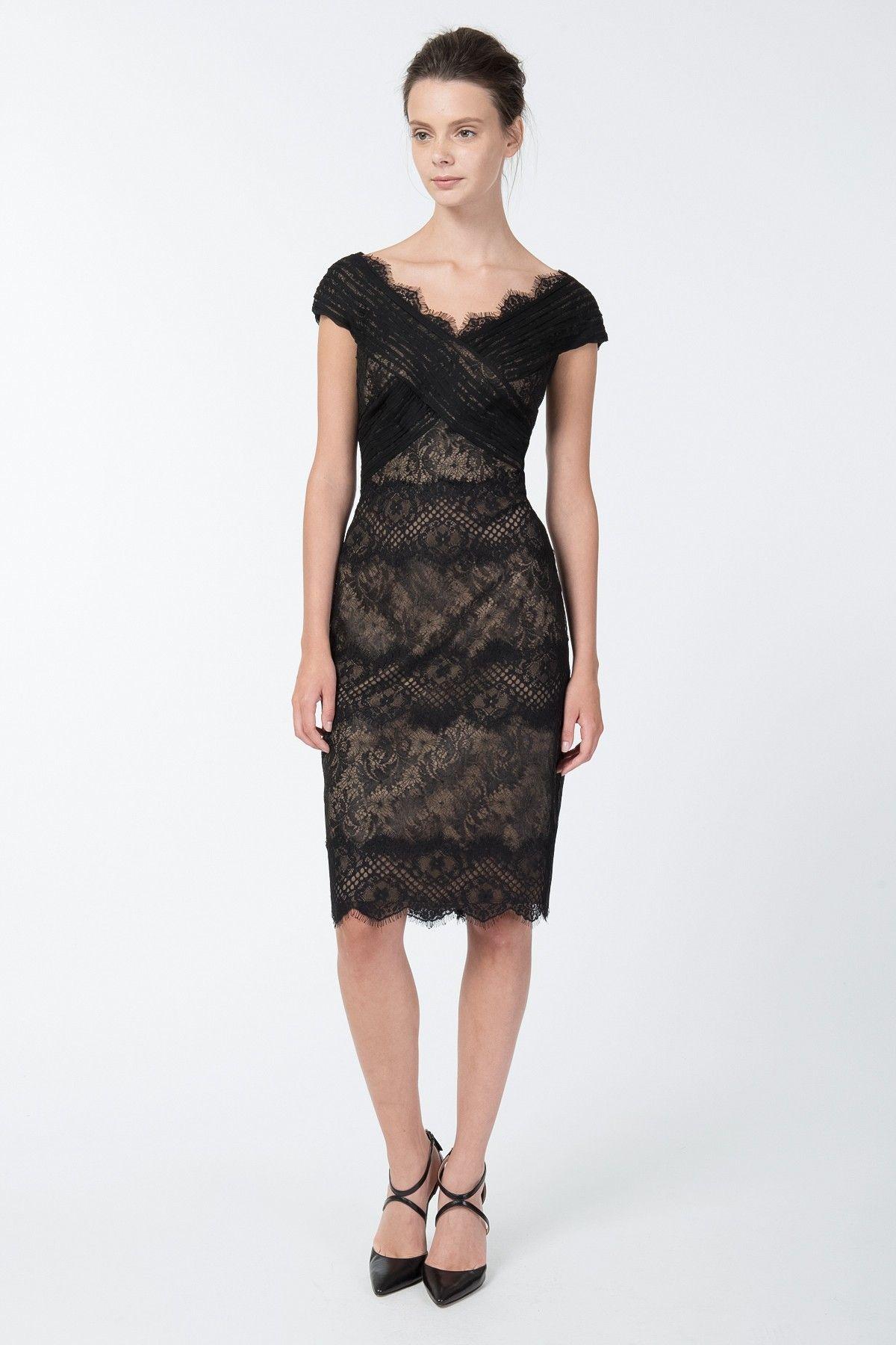 Chantilly lace scallop vneck dress in black nude tadashi shoji