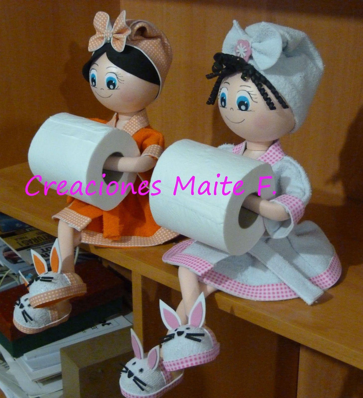Muñecas fofuchas, porta rollo de papel higiénico, en ...