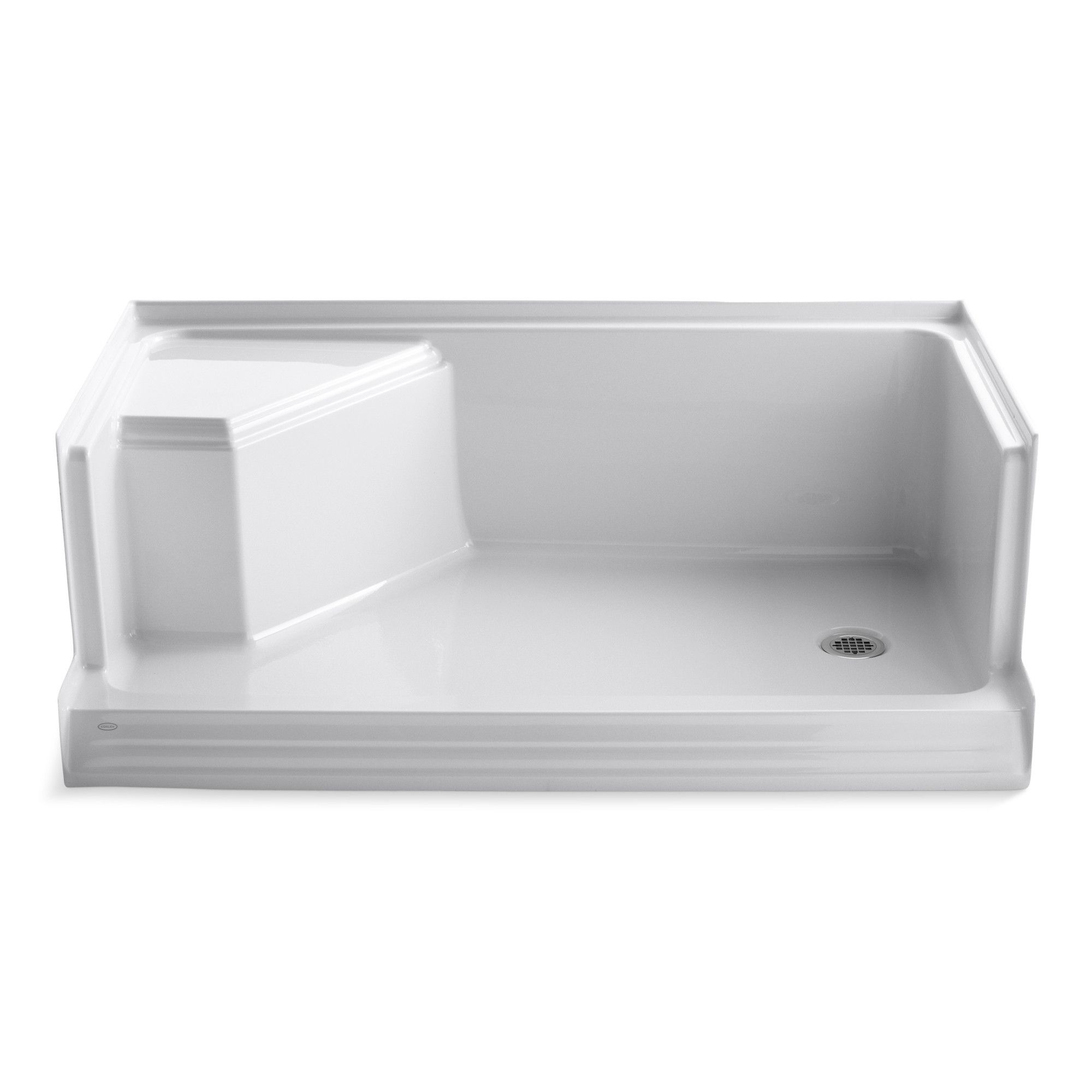 Memoirs 60 X 36 Single Threshold Right Hand Drain Shower Base With Integral Seat At Left Acrylic Shower Base Shower Base Shower Seat