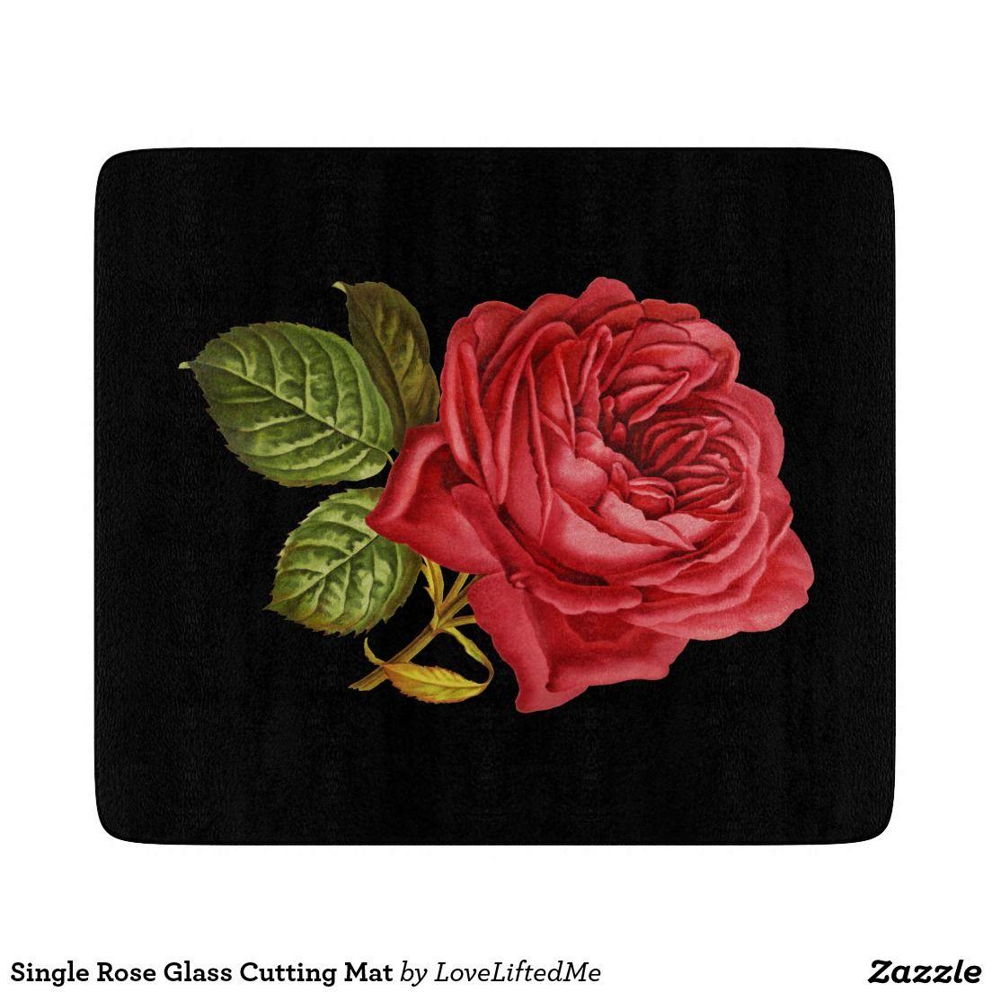 Single Rose Glass Cutting Mat