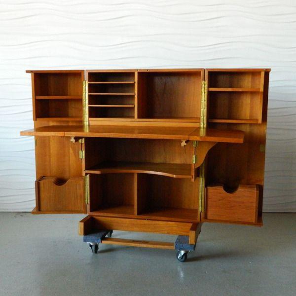 Home Anthology Teak Desk In A Box Folding Furniture Sewing Room Organization Teak Furniture
