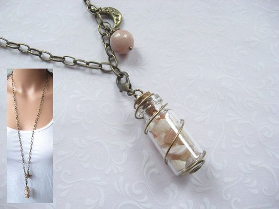 Moonstone Necklace Bottle Pendant MOONSTRUCK by BlueMoonHL on Etsy, $25.00