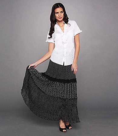 """Not so much digging the style of the blouse.... not a big fan of tailored """"menswear"""" style shirts.... but LOVE the skirt!! Wonder if it is flattering?!"""