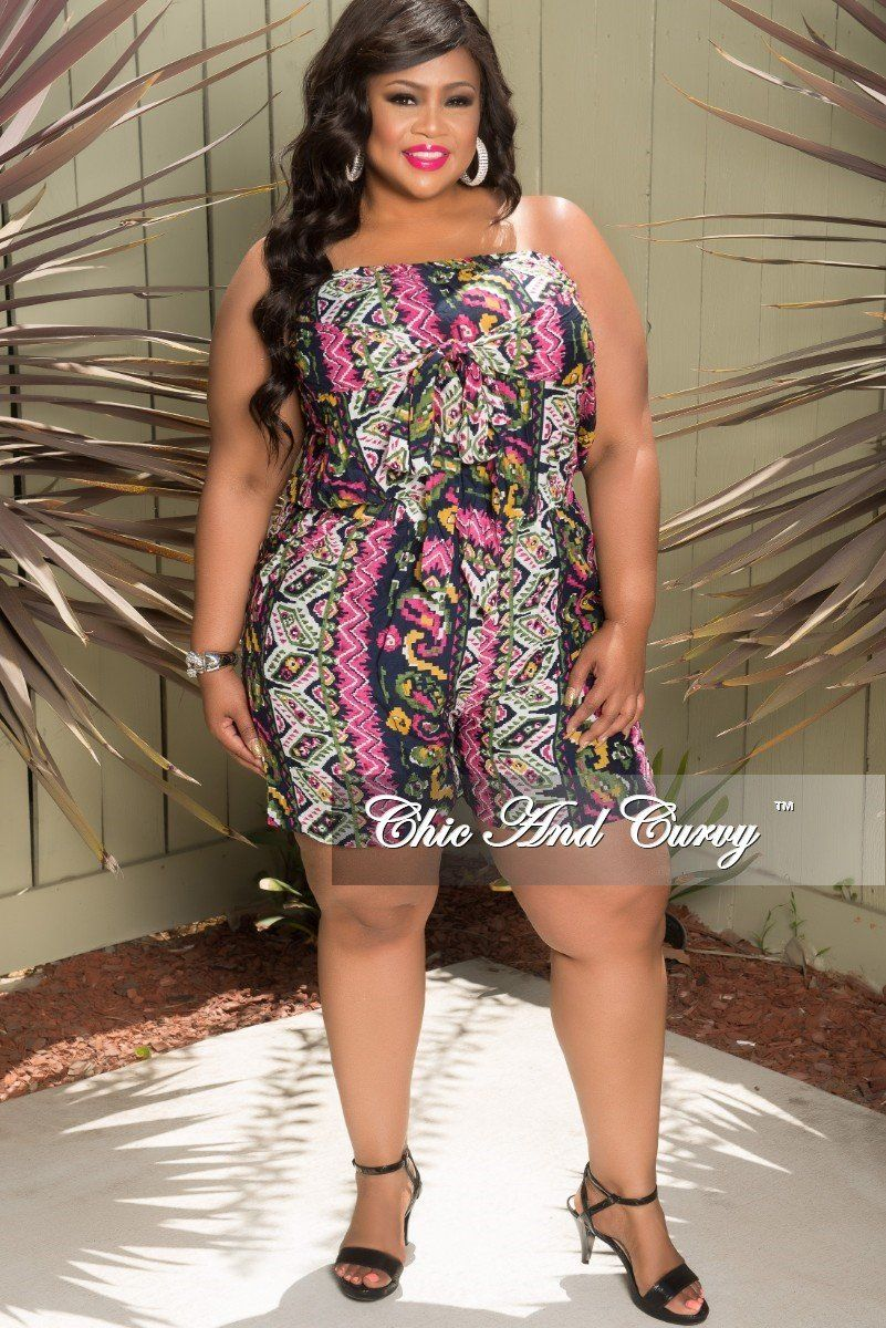 c2aaa526470 Plus Size Tube Romper with Attached Tie in Grey and Purple – Chic And Curvy
