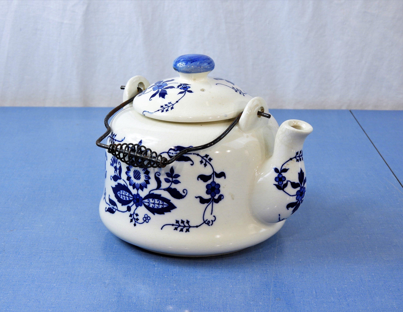 Vintage Blue Onion Tea Pot Delft Style 4 Cup Teapot Porcelain Dinnerware French Country Home Decor Kitchen Decor Blue Onion Porcelain Dinnerware Tea Pots