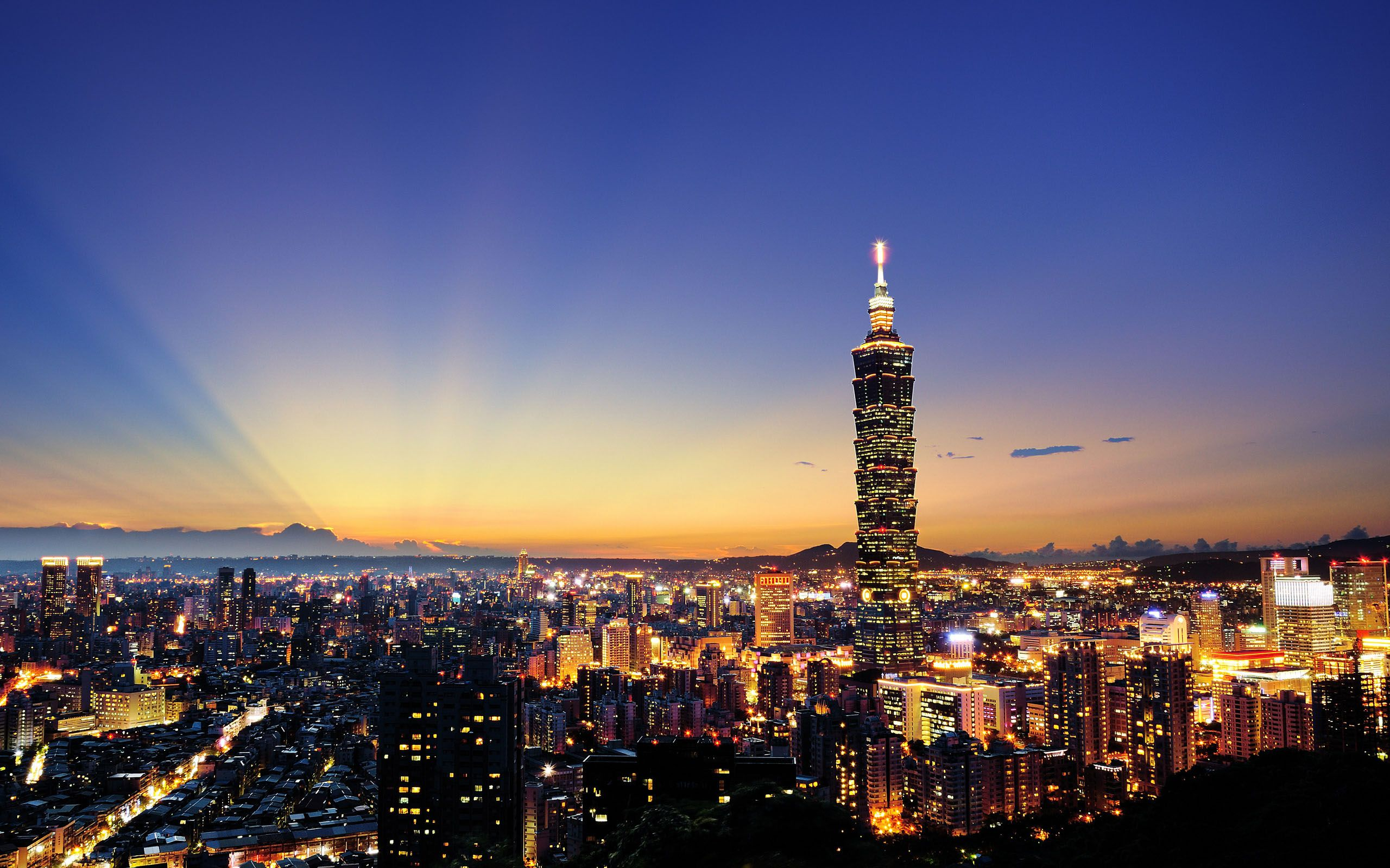 Beautiful Taipei 101 Night Light Hd Wallpaper In Desktop World