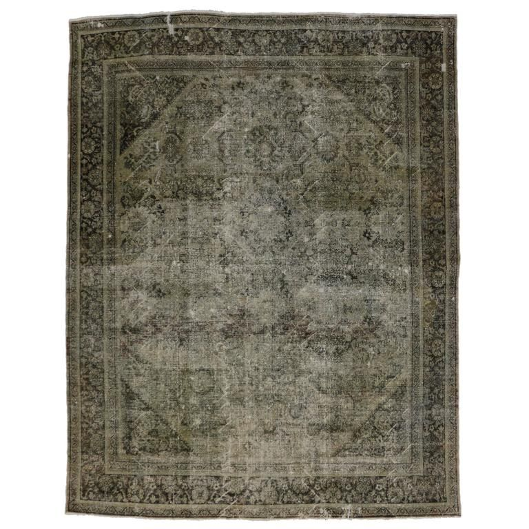 Distressed Antique Persian Mahal Rug With Modern Industrial Style From A Unique Collection Of Antique A Modern Industrial Modern Persian Rug Industrial Style