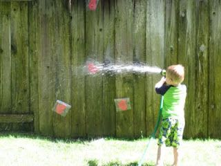 A fun way to work on number recognition this summer! What other learning activities could you do with a hose?