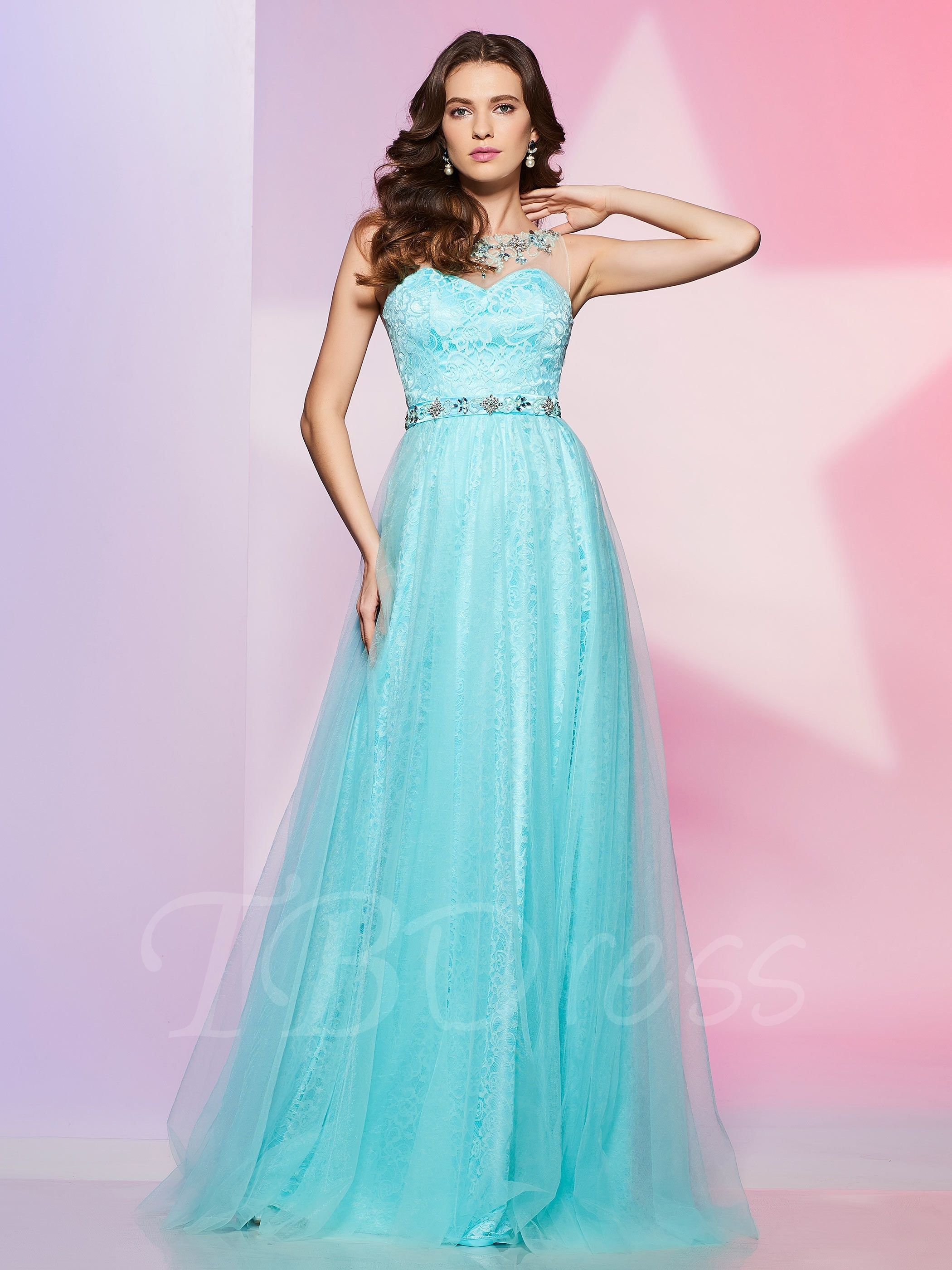 A-Line Jewel Beading Button Lace Prom Dress | Lace prom dresses ...