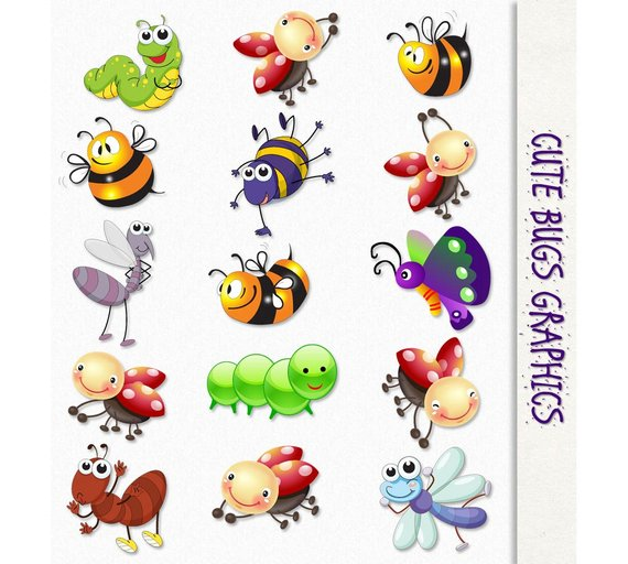 Cute Bugs Clip Art Insects Clipart Scrapbook Graphic ...
