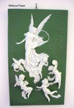 Exquisite Musical Jasperware Plaque with Large Angel and 5 Smaller Angels or Cherubs - Excellent condition!