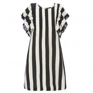 675a1aa3f0a3 Bonnie Jean Big Girls Black White Stripe Pattern Ruffle Sleeve Dress ...