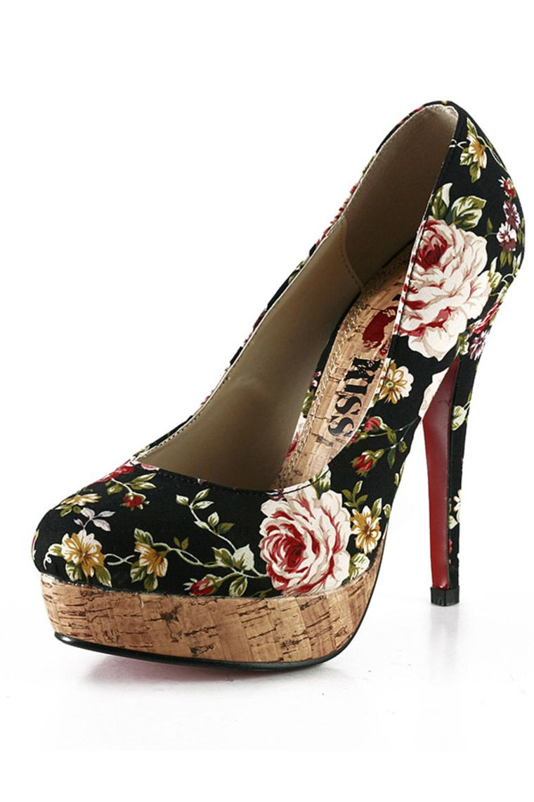 Black Women's Satin Stiletto Heel Pumps Closed Toe Platforms With Flower Th12097