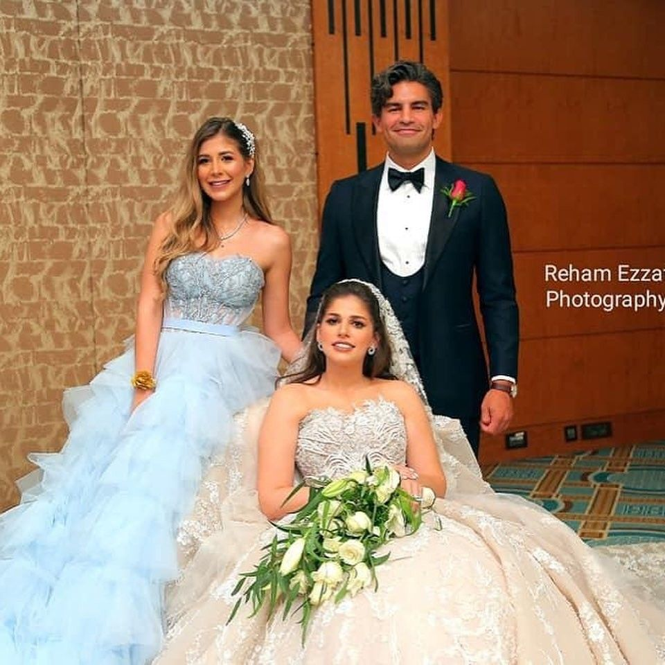 Malak Koura In Baby Blue Evening Soiree Dress From Her Sister Wedding Arab Celebrities Soiree Dress Egyptian Actress