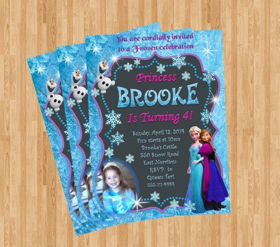 Chalkboard Frozen Themed Printable Birthday Invitation Templates