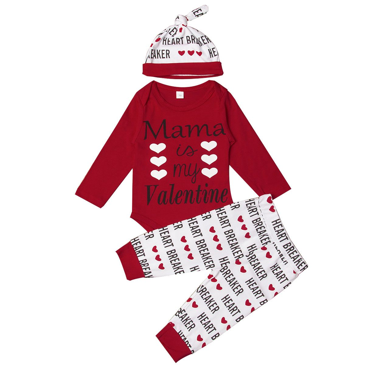 6ea2644f 2019 Fashion Mama is my Valentine Newborn Baby Girl Boy 3pcs Clothes Tops  Letter Heart Print Romper Pants Set