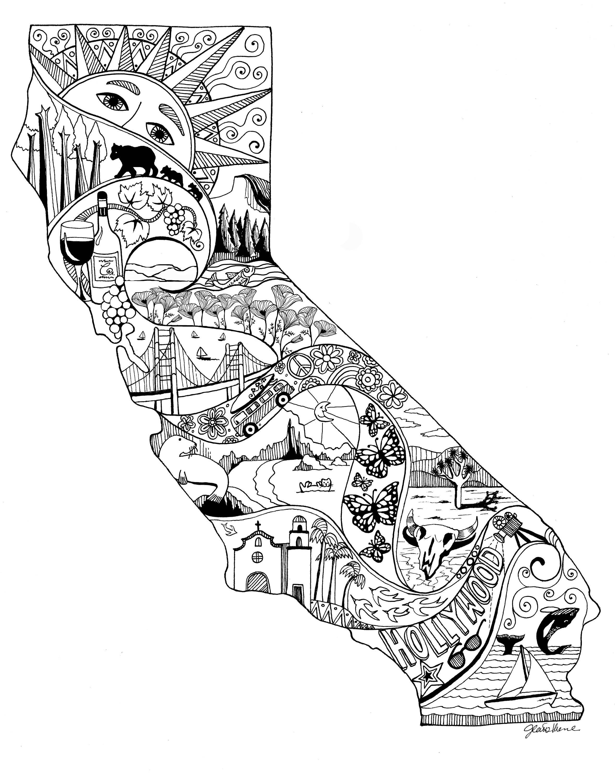 Zentangle California State Art California Drawing California