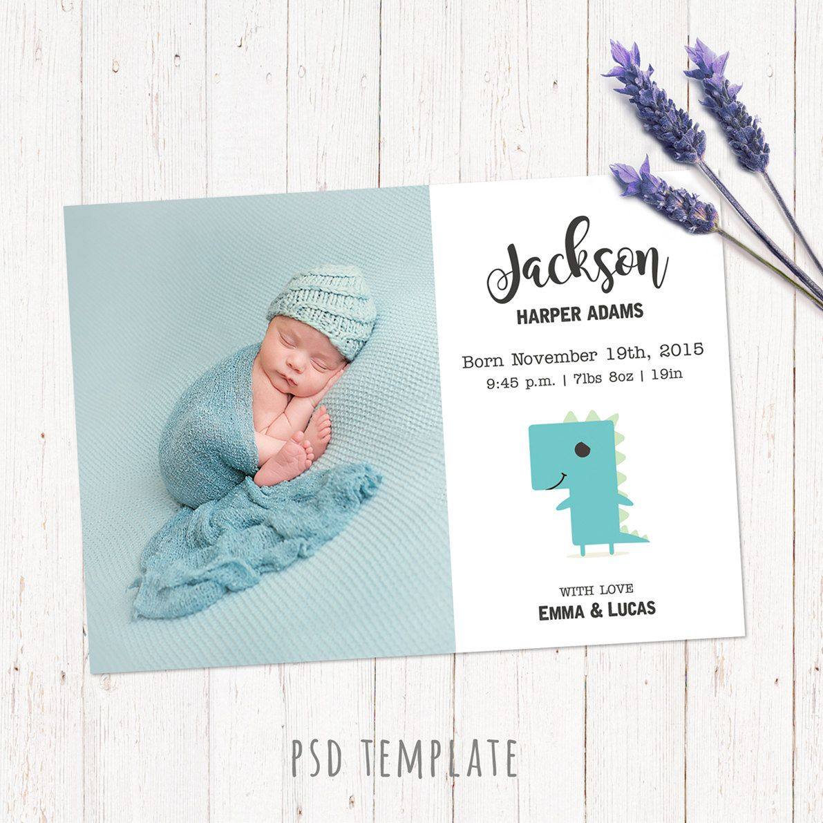 Birth Announcement Template Card. Newborn Baby Boy Birth Card For Instant  Download. Fully Editable