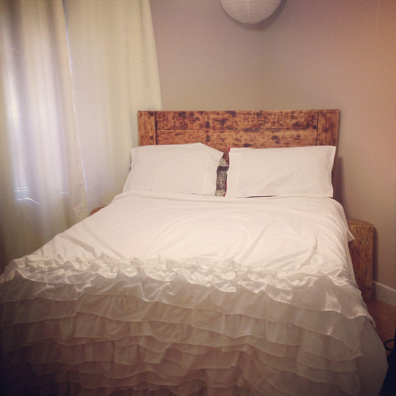 Diy ruffled duvet cover and barnwood headboard sleep pinterest