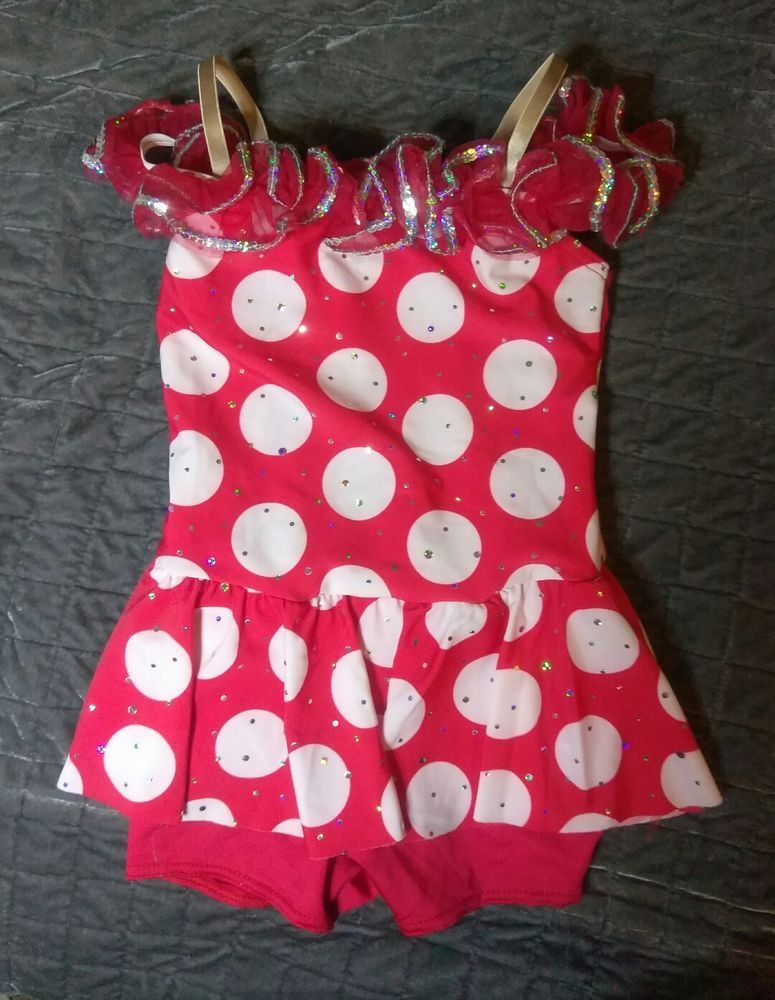 3b1d78ba4 WEISSMAN KIDS  DANCE COSTUME RED POLKA DOT WITH IC WORN ONCE ...