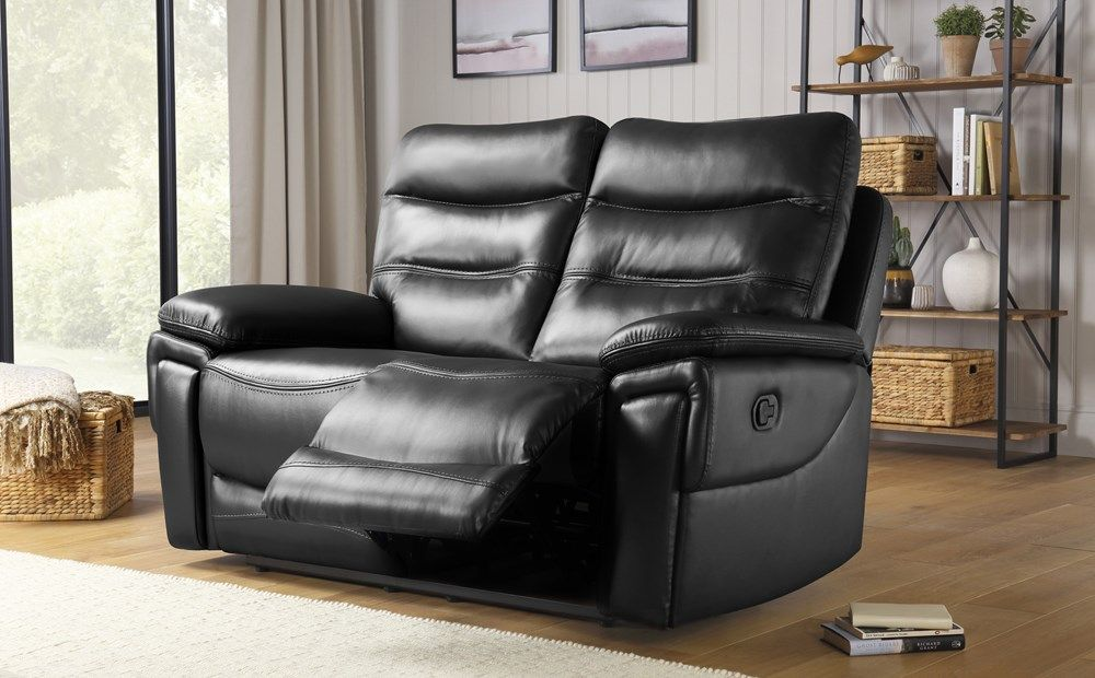 Ashley Black Leather 2 Seater Recliner