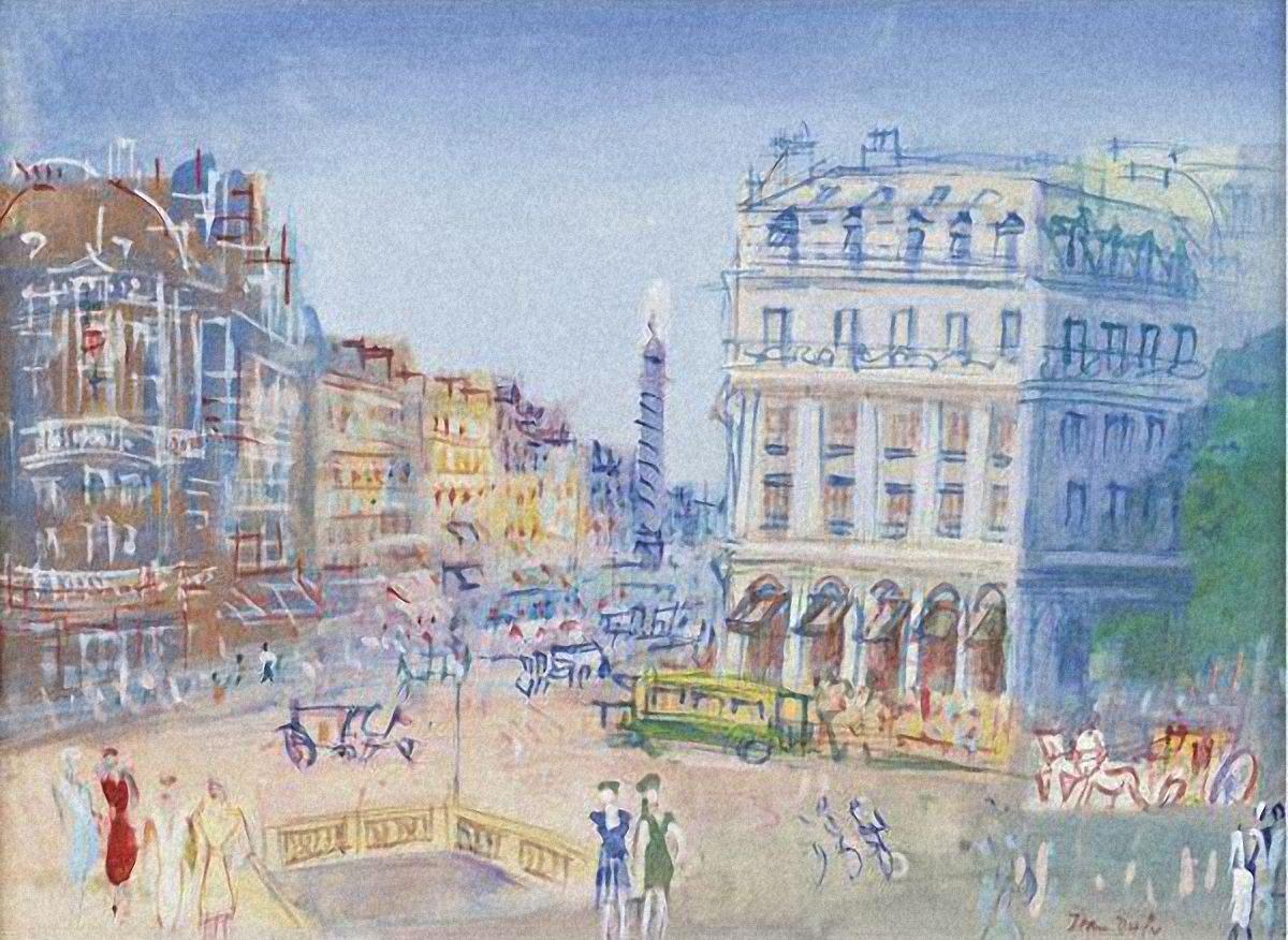 Jean Dufy (1888-1964) Place De L'Opera, Paris (46,7 by 64 cm)