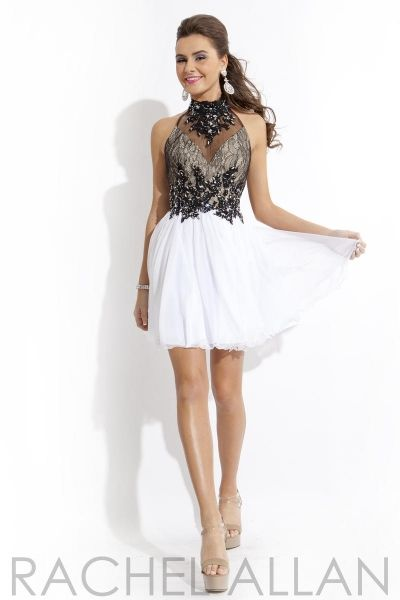 Size 8 White-Black Rachel Allan 6671 Illusion Homecoming Dress - Sleeveless lace and chiffon short party dress features a halter combo and sheer illusion top with beautifully placed appliques.*SOLD OUT*