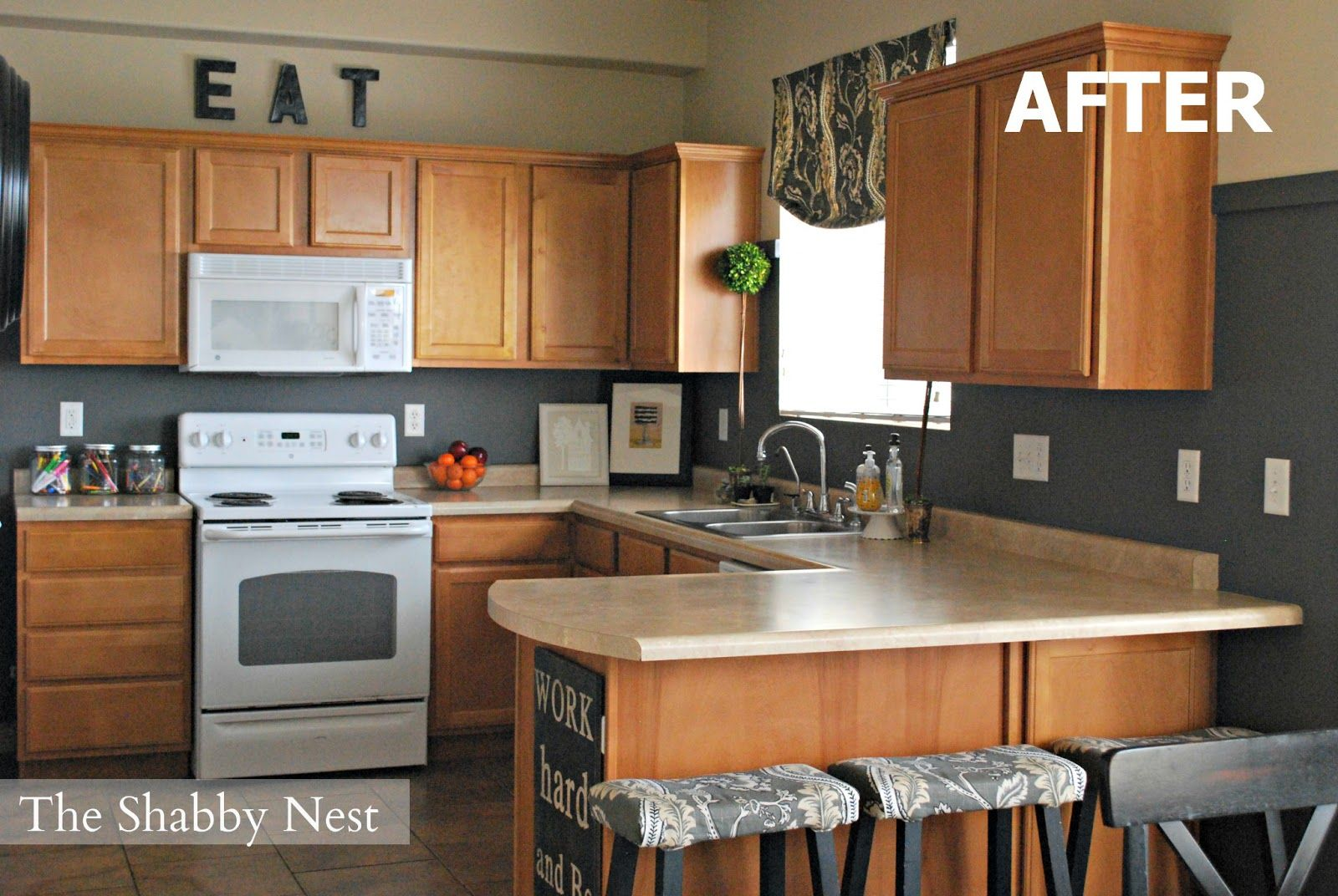 a charming kitchen revamp for $1,527 | white countertops and white