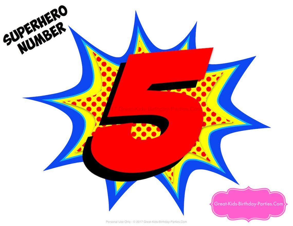 Superhero Number 5 Superhero Printables Number 5 Etsy In 2021 Superhero Printables Superhero Centerpiece Superhero Birthday Party