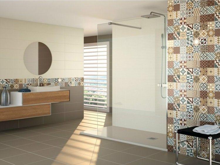 Carrelage mural salle de bain id es et astuces design for Carrelage ceramique salle de bain