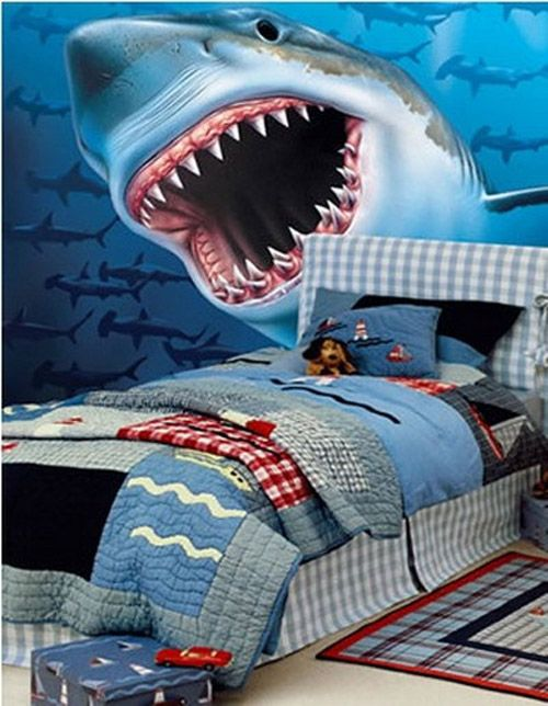 Blue Shark Bathroom Space Themed Bedroom For Your Kids With Light Shade Of Sky Blue