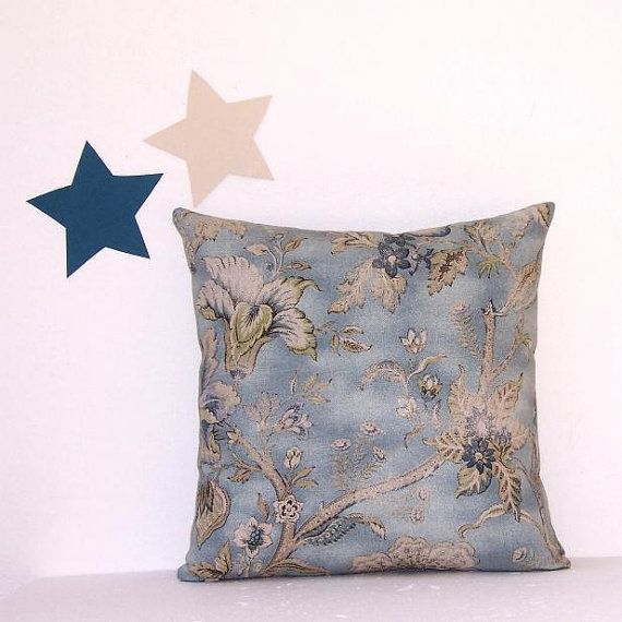 Decorative Blue Tan Cream Pillow Cover 16 x 16 by PillowStars
