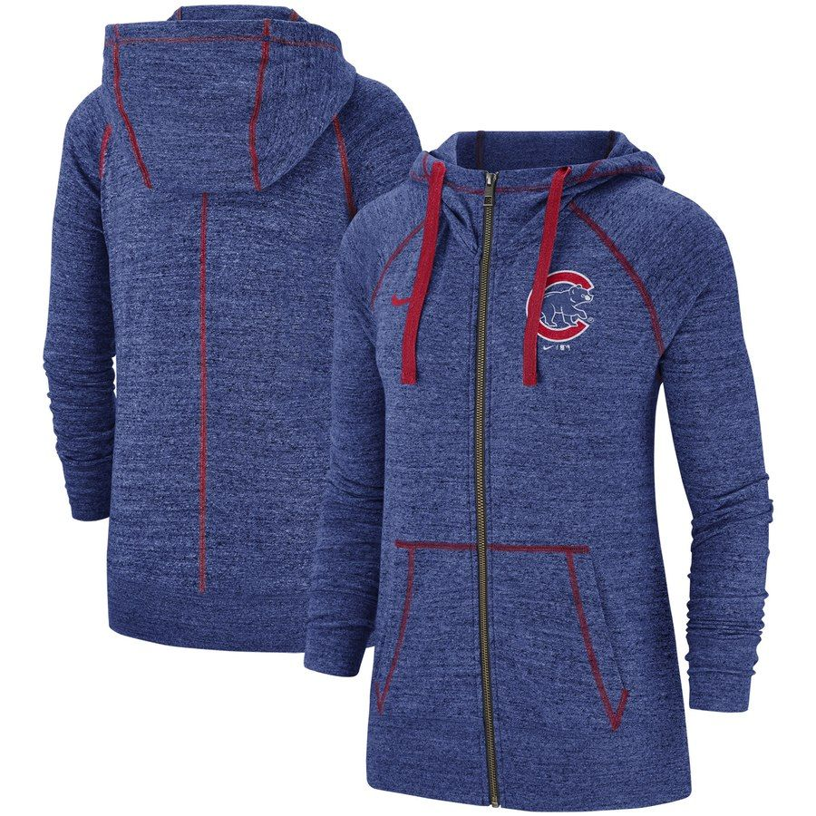 f054d67b Women's Chicago Cubs Nike Royal Gym Vintage Team Full-Zip Hoodie in ...