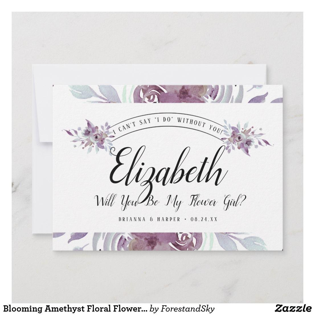 Blooming amethyst floral flower girl proposal card