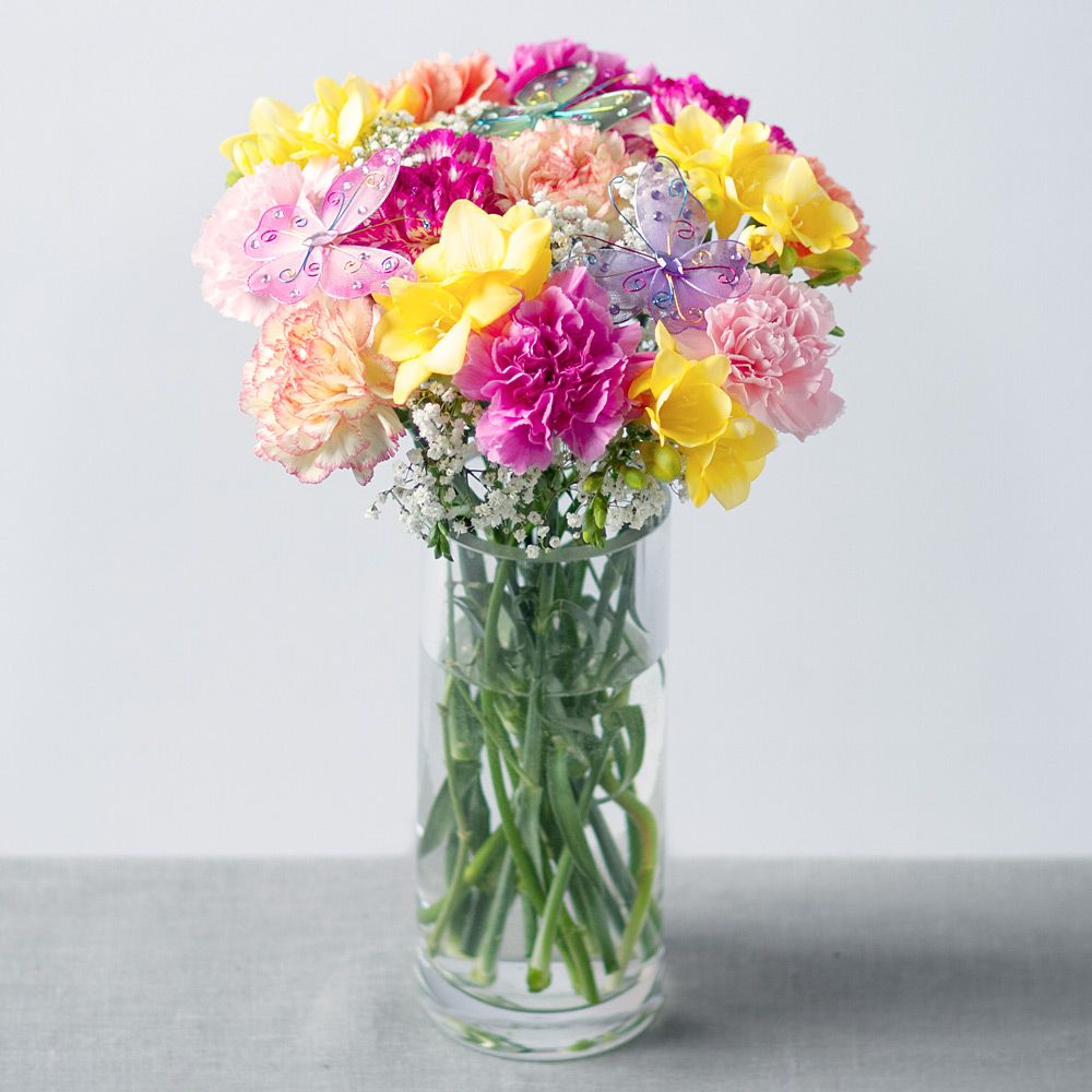 Butterfly Bliss Bouquet Bright And Beautiful Flowers Flowers By Post Freesia Flowers Fresh Flower Bouquets