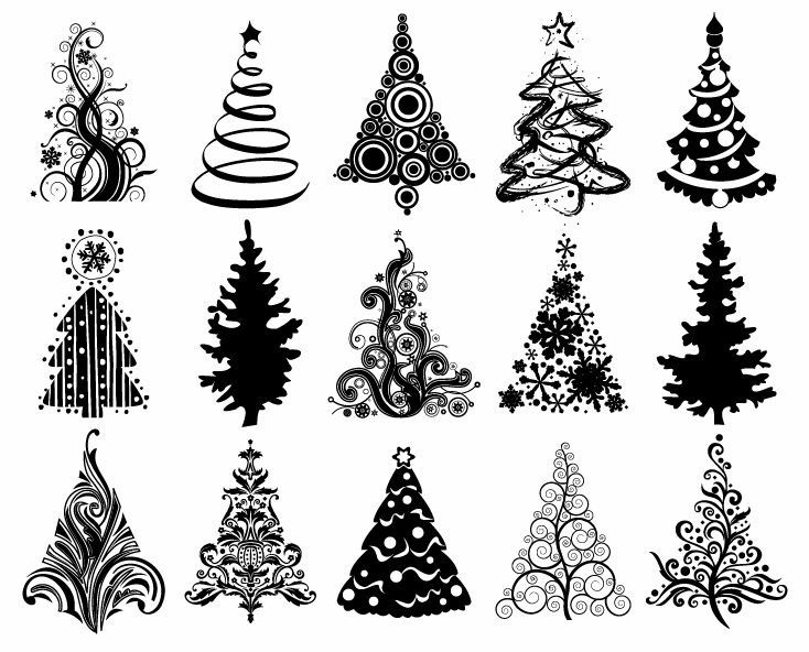 Christmas Tree Vector Image.Christmas Graphic Set Of Christmas Trees Vector Graphic