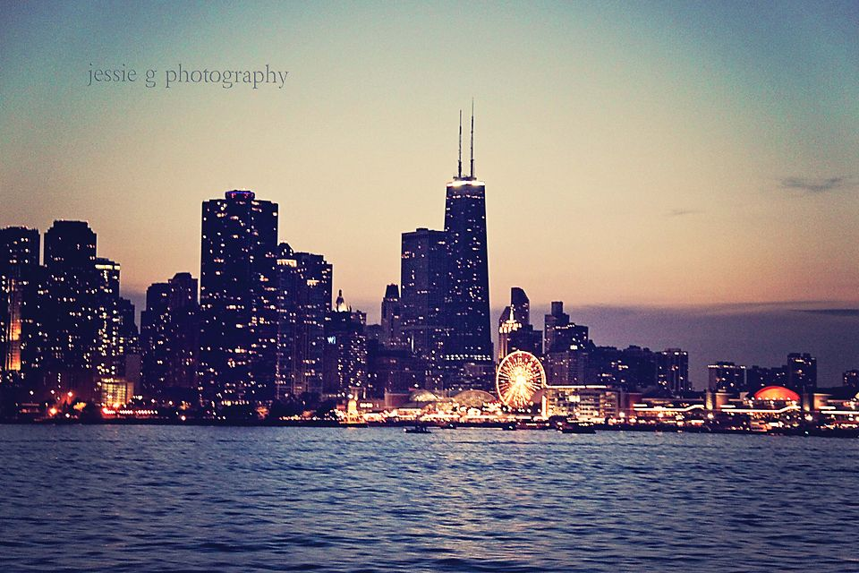 Chicago skyline as seen from Lake Michigan at dusk.