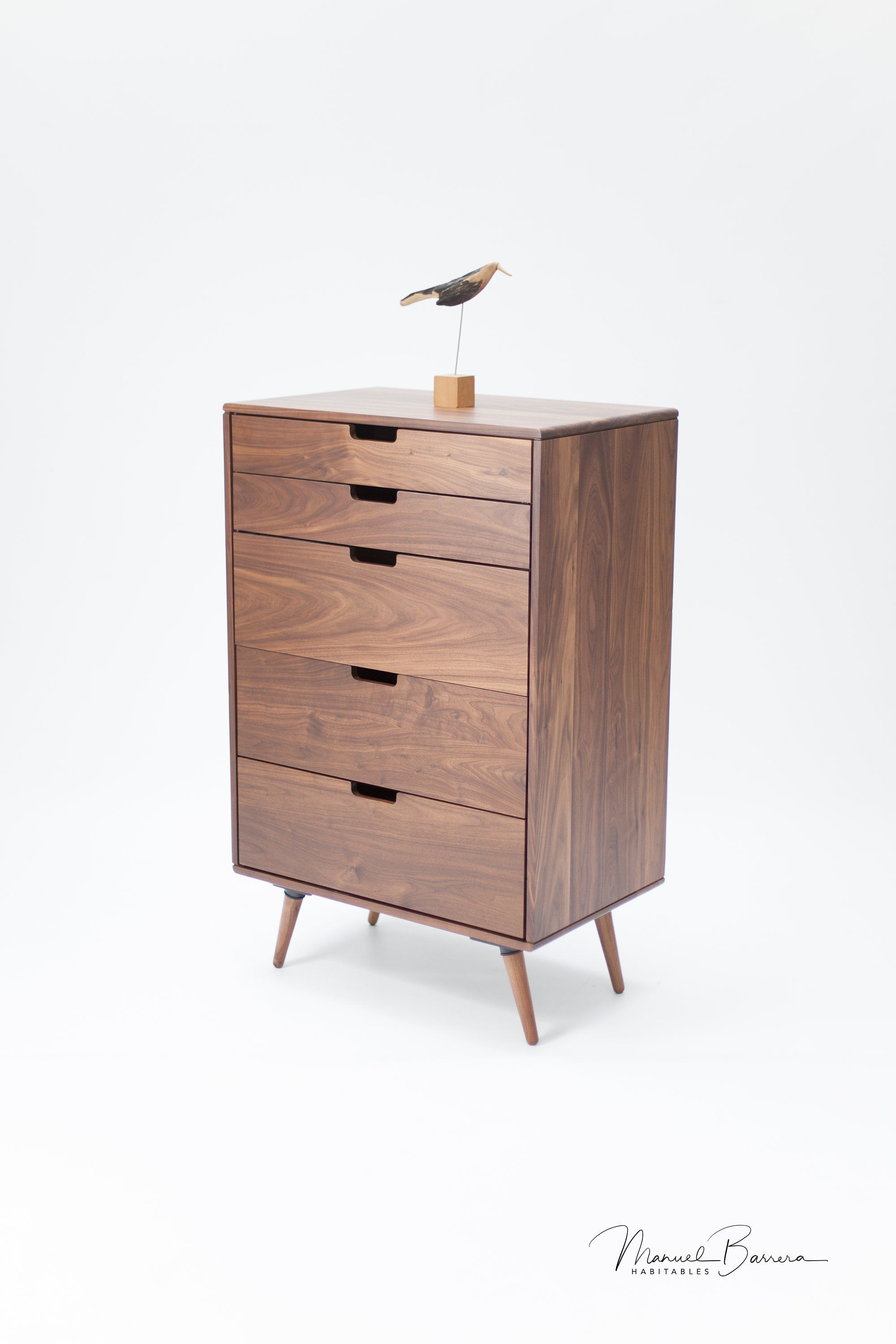 Chest Of Drawers Tall Boy In Walnut By Manuel Barrera For Habitables Scandinavian Furniture Solid Wood Tall Bedside Table