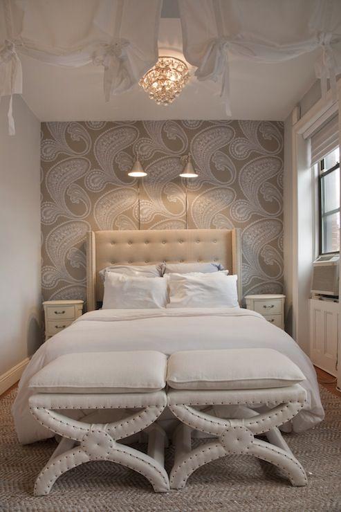 lovely gray accent wall bedroom | Lily Z Design - bedrooms - Rajapur Wallpaper, Restoration ...