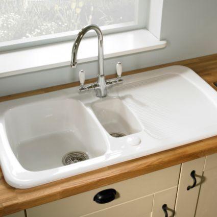 Astracast Aquitaine 1 5 Bowl Ceramic Sink Amp Drainer Image 3 Ceramic Kitchen Sinks Kitchen Sink Units Kitchen Sink Remodel