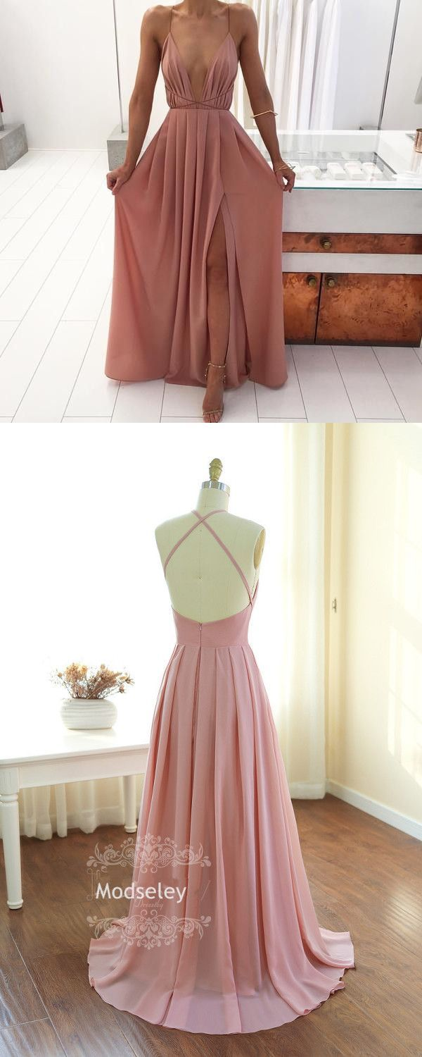 Sexy aline deep vneck long pink prom dress boho prom dress