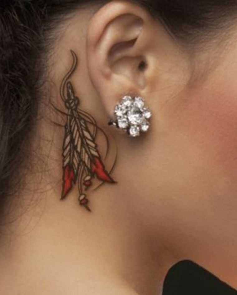 Pin By Find Tattoo Design On Tatuagem In 2020 Behind Ear Tattoos Feather Tattoo Behind Ear Feather Tattoo Ear