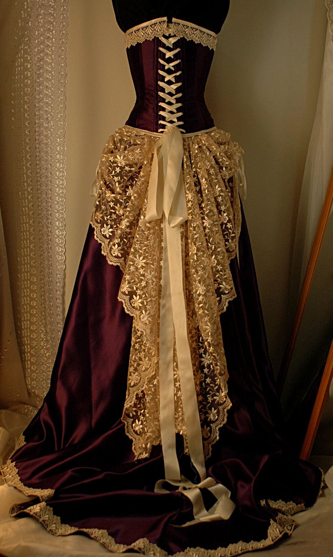 Deep purplecreamwedding dressvictorian steampunk or goth