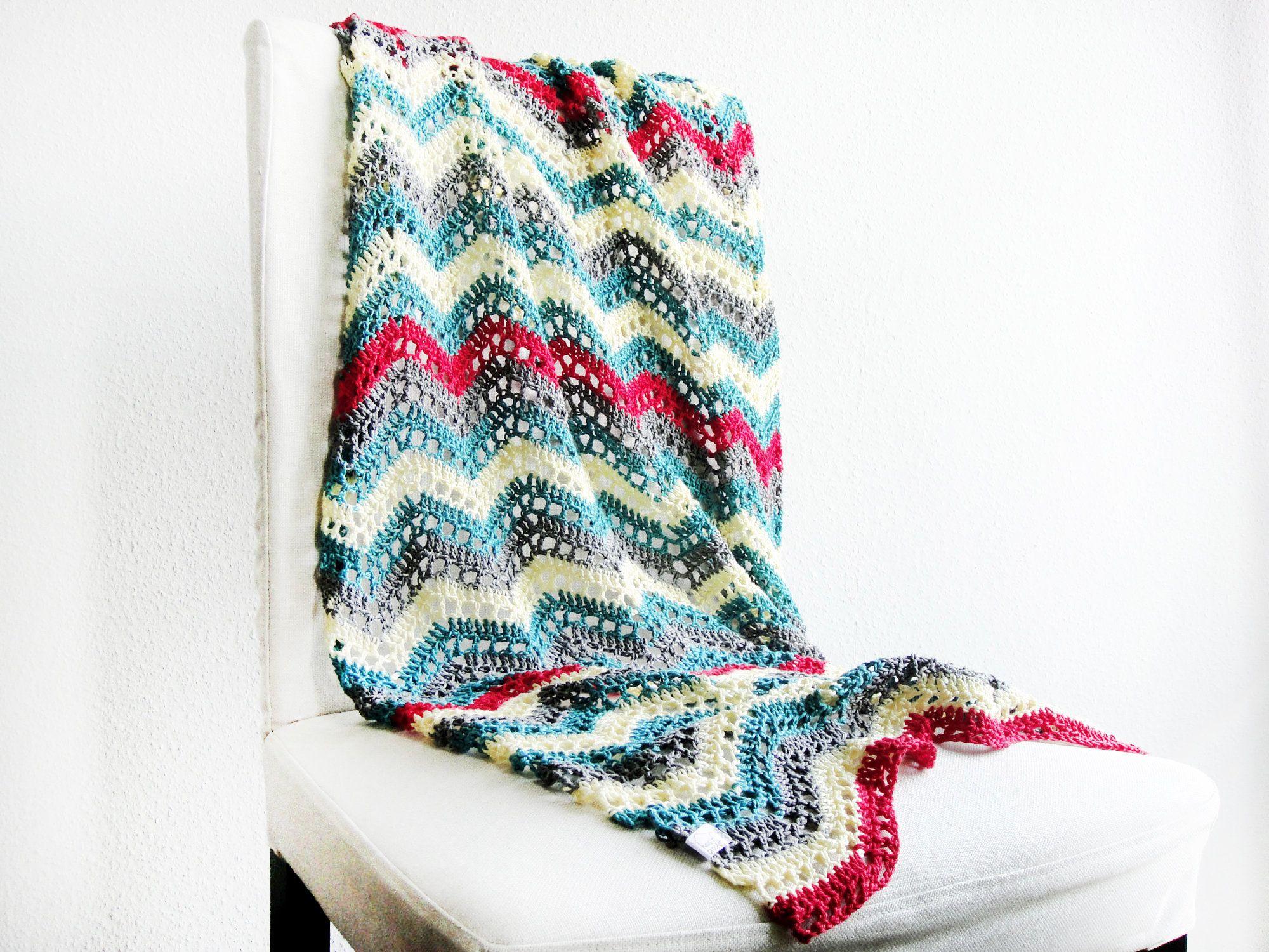 Bunte Hakeldecke 100 Baumwolle Ca 80 X 155 Cm Grosse Decke Etsy Throw Blanket Crochet Blanket